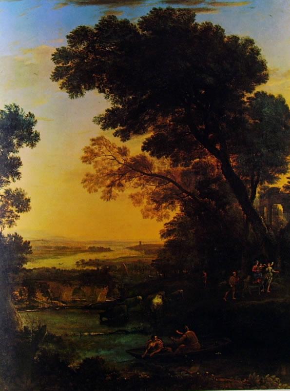 Lorrain (Claude Gellée): Paesaggio con la fuga in Egitto (Amsterdam)