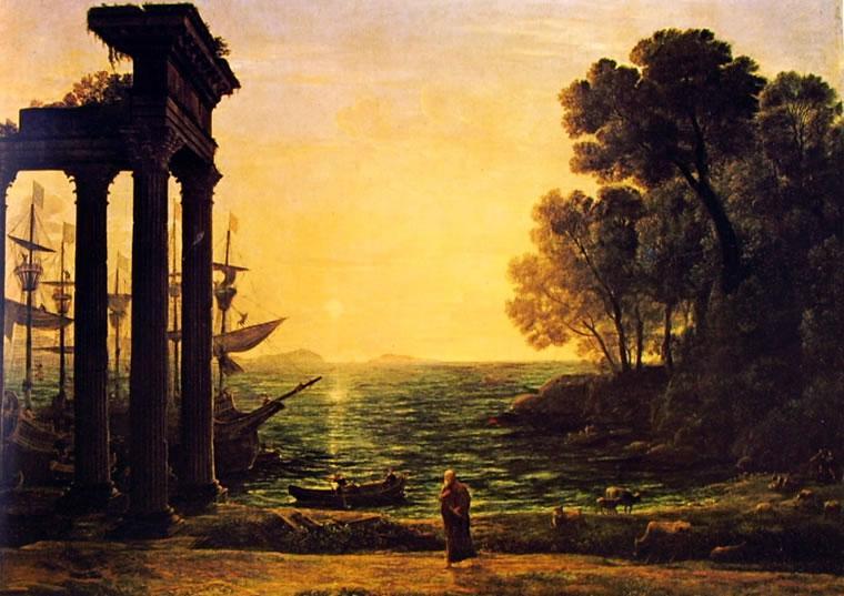 Lorrain (Claude Gellée): Marina con Ezechiele che piange sulle rovine di Tiro