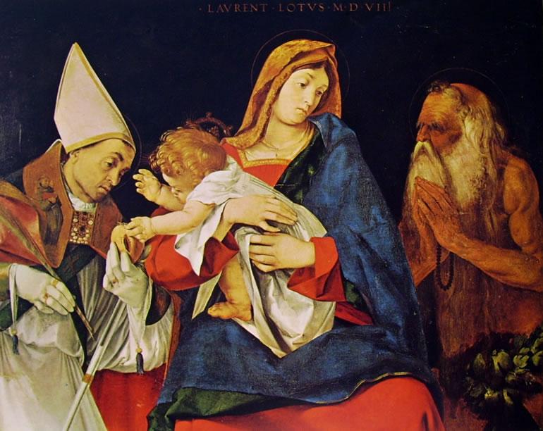Lorenzo Lotto: Madonna col bambino, un Santo vescovo, e Sant'Onofrio