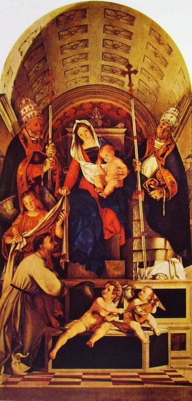 Lorenzo Lotto: Madonna con il bambino e i santi Domenico, Gregorio e Urbano