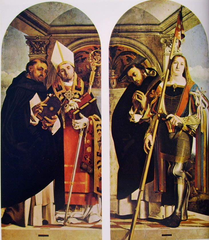 Lorenzo Lotto: I santi Tommaso d'Aquino e Flaviano - I santi Pietro Martire e Vito