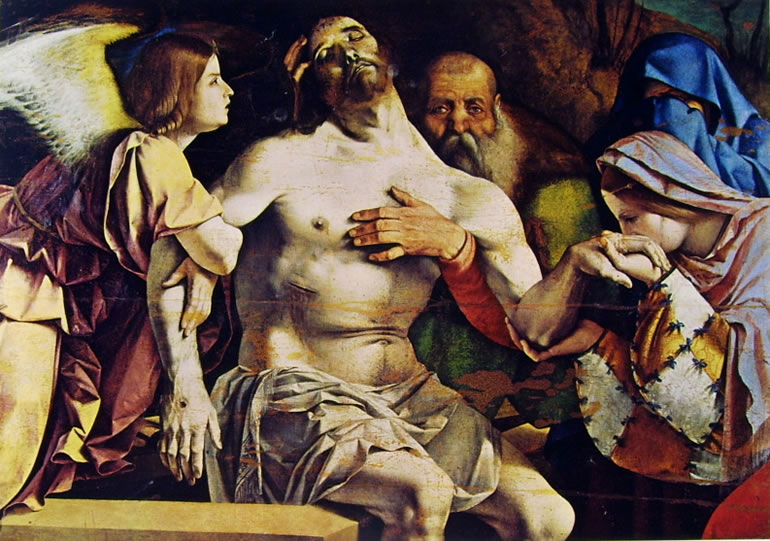 Lorenzo Lotto: Pietà, cm. 80 x 80.