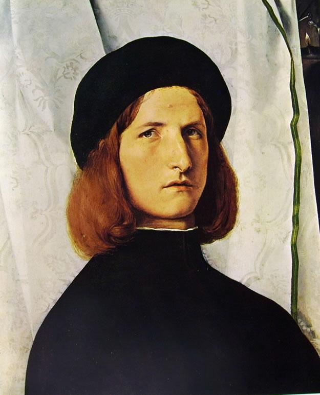 Lorenzo Lotto: Busto di giovane con lucerna