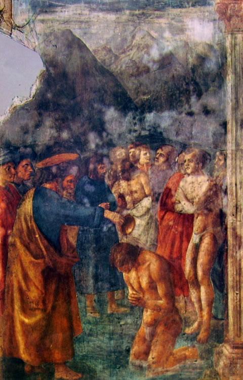 Masaccio: Il battesimo dei neofiti (Cappella Brancacci)