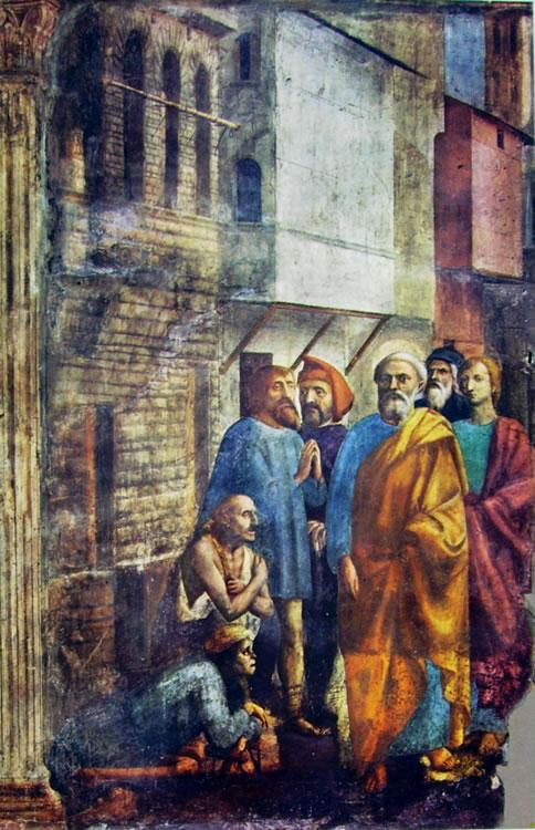 Masaccio: Cappella Brancacci: San Pietro risana gli infermi