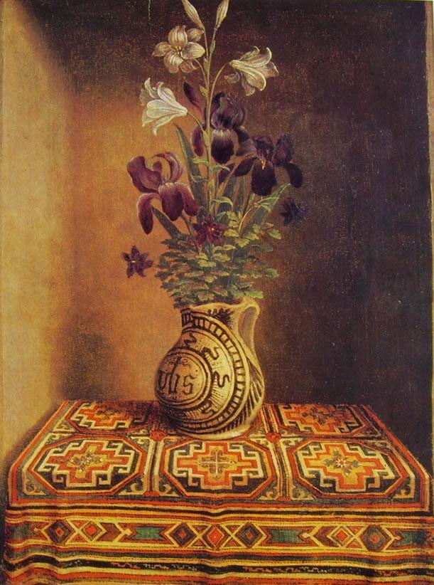 Hans Memling: Vaso di fiori (dal Ritratto di Thyssen)