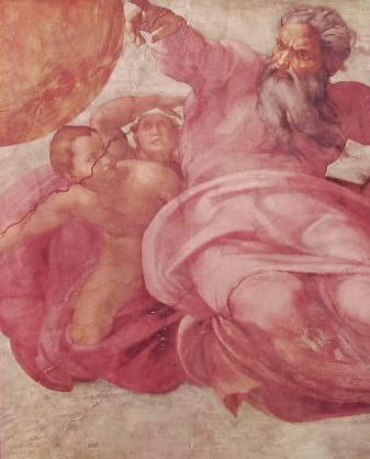 Michelangelo - Volta della Cappella Sistina, particolare della Creazione degli astri