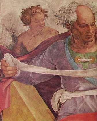Michelangelo - Volta Cap.lla Sistina, particolare del profeta Gioele