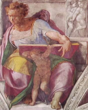 Michelangelo - V.ta della Cappella Sistina, particolare del profeta Daniele
