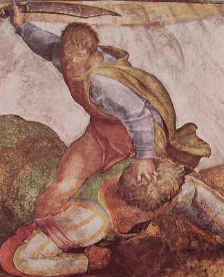 Michelangelo - partic. del David e Golia, Vaticano Volta della Cappella Sistina