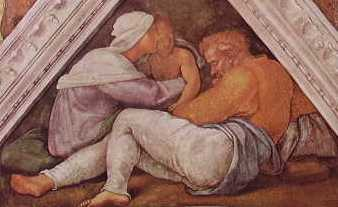 Michelangelo - Volta C. Sistina, partic. delle Figure della Vela