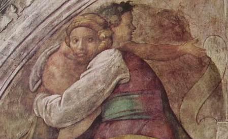Michelangelo - Cappella Sistina, particolare delle figure della lunetta, Vaticano