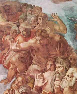 Michelangelo - Particolare del Giudizio Universale - figure dei beati