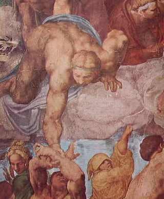 Alcune figure del Giudizio Universale: particolare degli eletti ascendenti al cielo aiutati da angeli