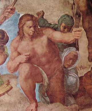 Michelangelo - Il Giudizio Universale, particolare della figura di S. Sebastiano