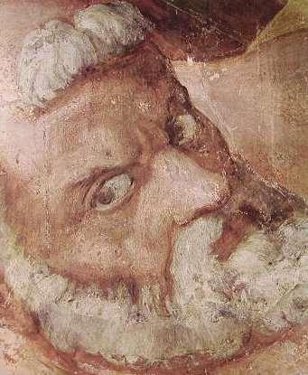 Michelangelo - Particolare Crocefissione di San Pietro, il S. Pietro, Cappella Paolina Vaticano