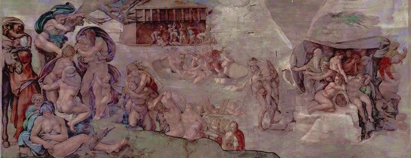 Volta della Cappella Sistina, Diluvio Universale, anno 1508 (9), 280 x 570 Vaticano