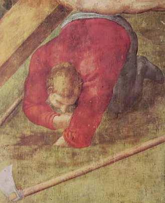 Michelangelo - Crocifissione di S. Pietro, figura dello scavatore sotto la croce