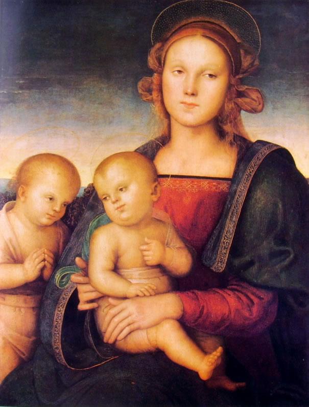 Il Perugino: Madonna con il bambino e San Giovannino (Francoforte)