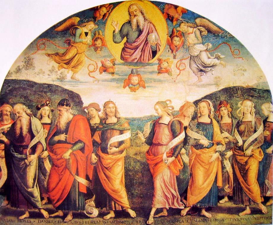 Il Perugino: Ornamentazione del Cambio l'Eterno con profeti e sibille