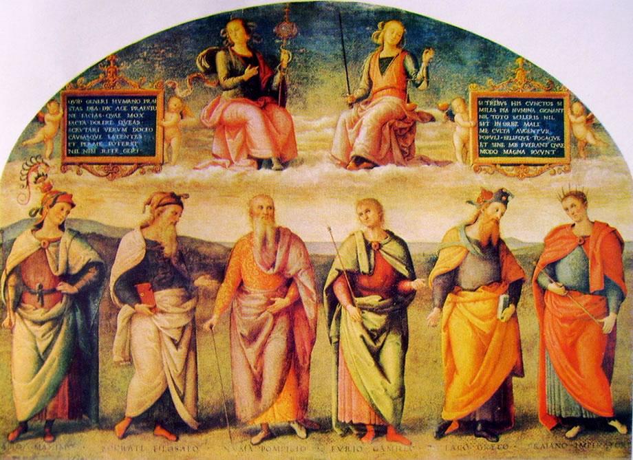 Il Perugino: Ornamentazione del Cambio - Prudenza e Giustizia con sei savi antichi