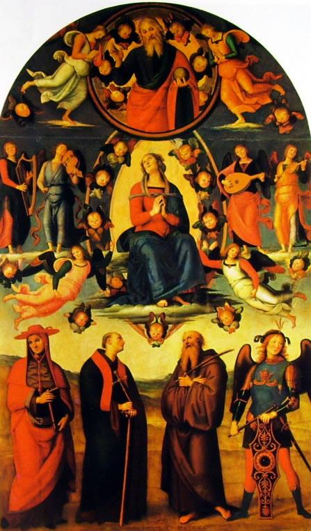 Il Perugino: Pala di Vallombrosa - l'Assunzione della Vergine con quattro santi
