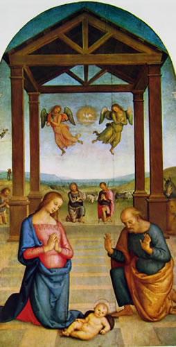 Pietro Perugino: Polittico di Sant'Agostino - Il presepio