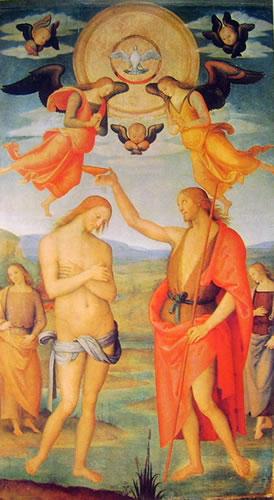 Pietro Perugino: Polittico di Sant'Agostino - Il battesimo di Cristo