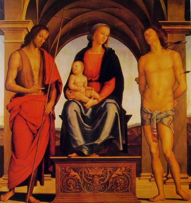 Il Perugino: Madonna col bambino in trono fra i santi Giovanni Battista e Sebastiano
