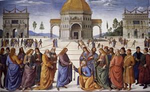 Dipinti della Cappella Sistina del Perugino - Consegna delle chiavi a San Pietro