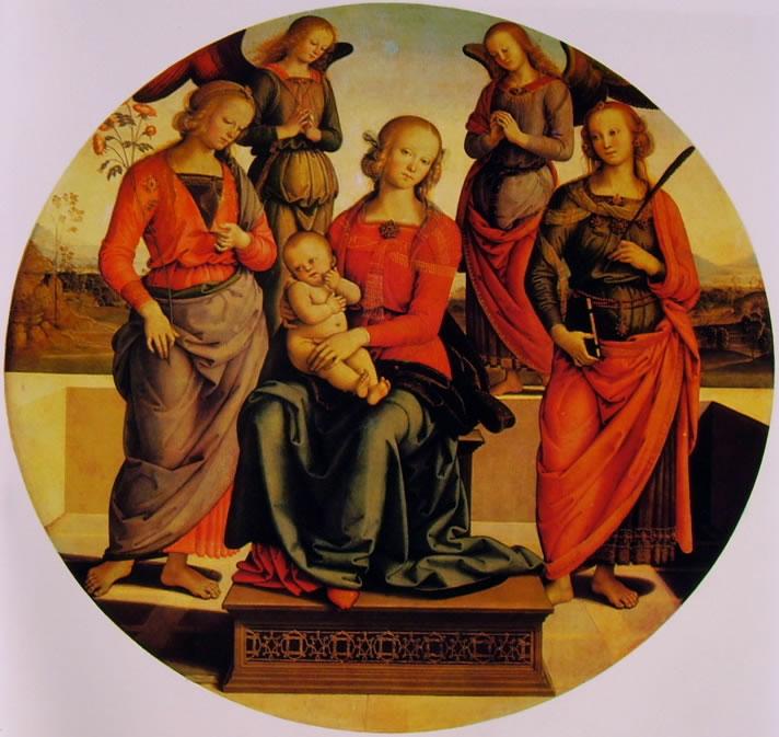 Il Perugino: Madonna in trono fra due angeli e le sante Rosa e Caterina d'Alessandria