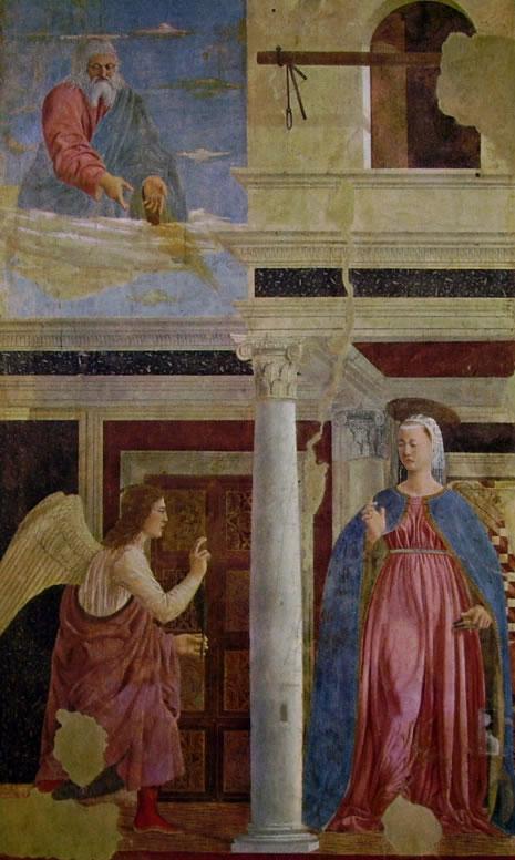 Piero della Francesca - Storie della vera Croce: L'Annunciazione