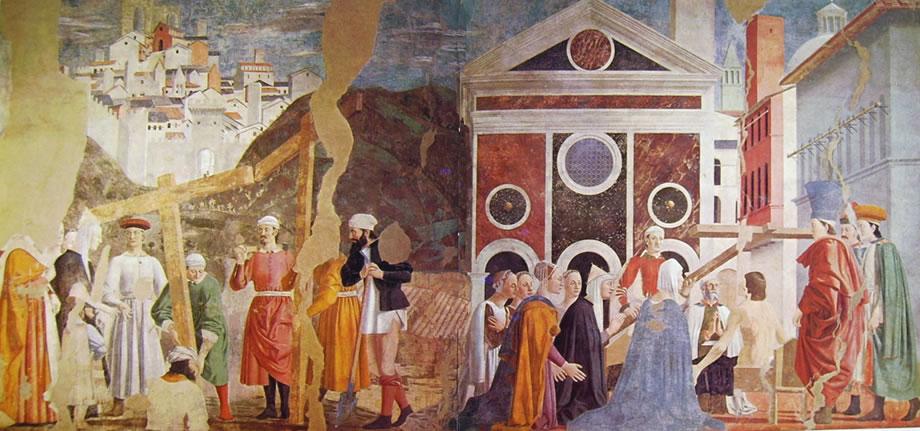 Piero della Francesca: Storie della vera Croce -Ritrovamento delle tre croci e la verifica della vera Croce