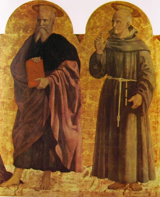 Piero della Francesca: Il polittico della misericordia - S. Andrea e S. Bernardino da Siena