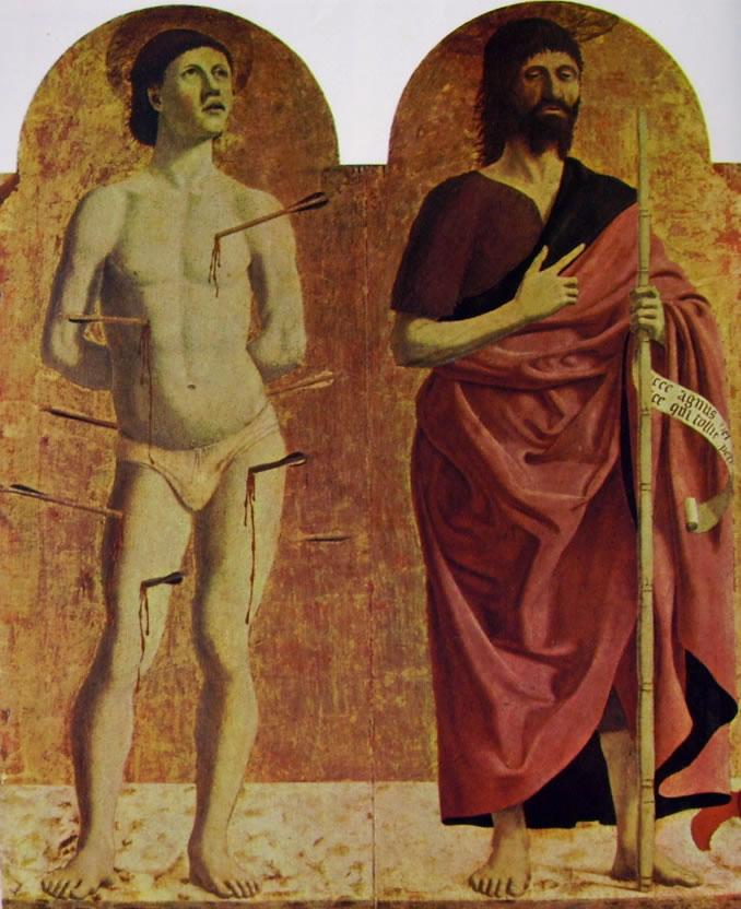 Piero della Francesca: San Sebastiano e San Giovanni Battista