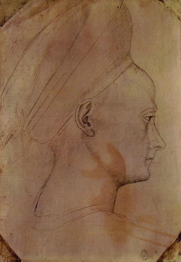 Pisanello: Testa di donna in profilo verso destra