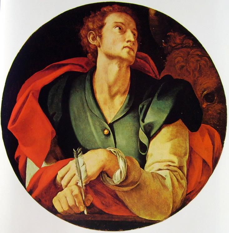 Decorazione della Cappella Capponi - San Luca della Cappella Capponi, diam. cm. 70, Santa Felicita, Firenze