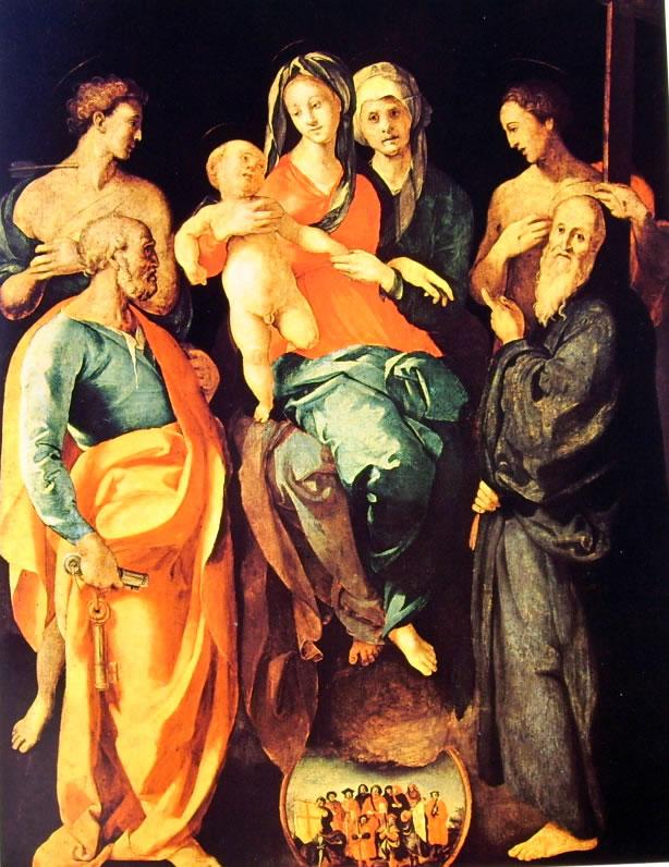 Il Pontormo: Pala di Sant'Anna - Madonna con il bambino, Sant'Anna ed altri Santi