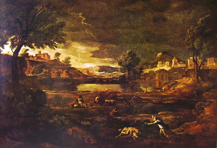 Nicolas Poussin: Paesaggio con Piramo e Tisbe