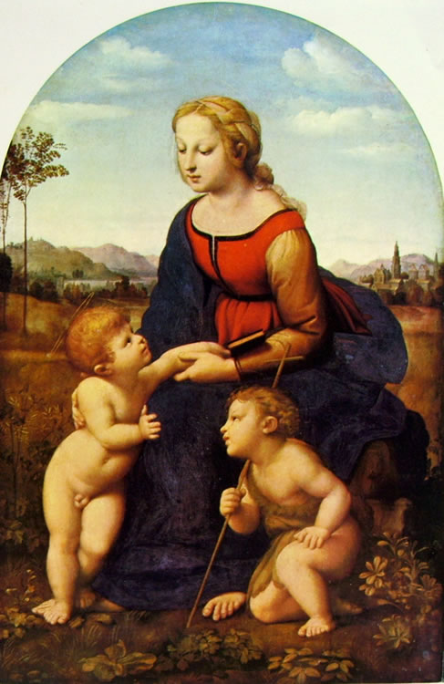 Raffaello Sanzio: Madonna con il bambino e San Giovannino (La bella giardiniera)