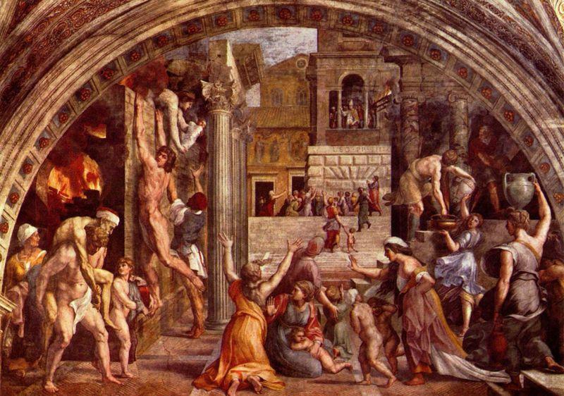 Raffaello Sanzio e aiuti: Stanza dell'Incendio di Borgo: L'Incendio di Borgo
