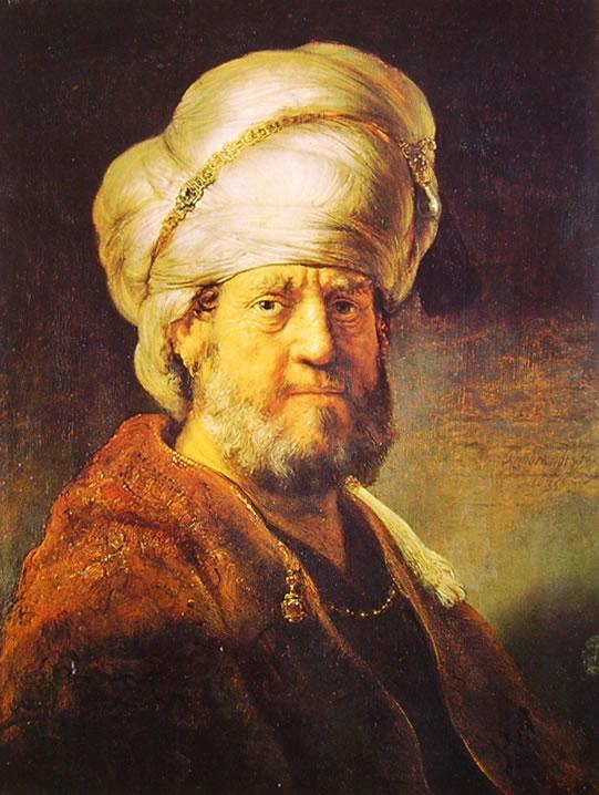 Rembrandt Harmenszoon Van Rijn: Busto d'uomo in costume orientale