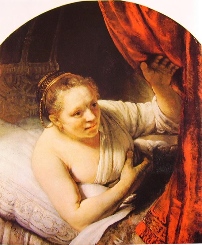 Rembrandt Harmenszoon Van Rijn: Ritratto di Hendrickje a letto