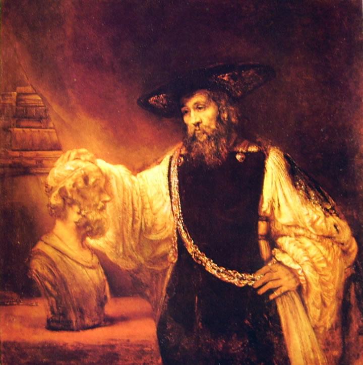Rembrandt Harmenszoon Van Rijn: Aristotele che contempla il busto di Omero