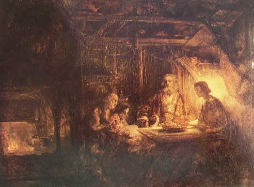 Rembrandt Harmenszoon Van Rijn: Filemone e Bauci visitati da Giove e Mercurio