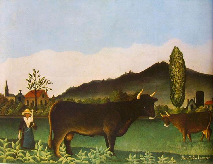 Rousseau il Doganiere: Paesaggio con filatrice e bovini