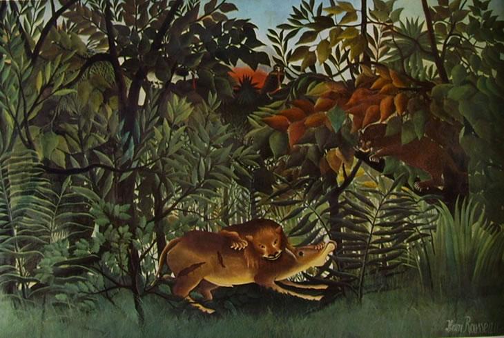Rousseau il Doganiere: Antilope assalita da un leone
