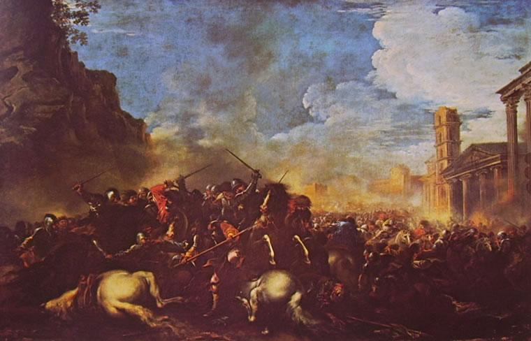 Salvator Rosa: Battaglia, cm. 96 x 146