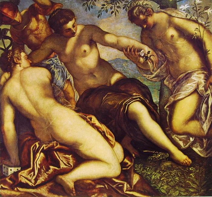 Il Tintoretto: Dipinti dell'anticollegio in palazzo Ducale - Le tre Grazie e Mercurio
