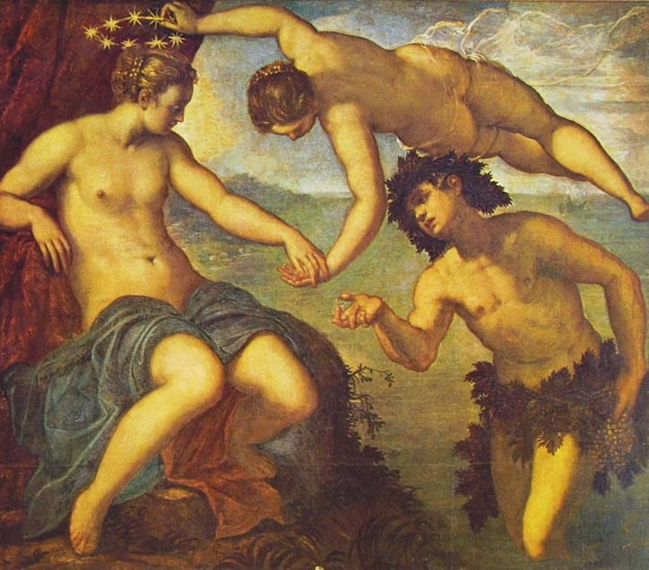 Il Tintoretto: Dipinti dell'anticollegio in palazzo Ducale - Arianna, Venere e Bacco